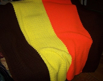 Awesome Retro Style Vintage Handmade Crochet Striped Afghan