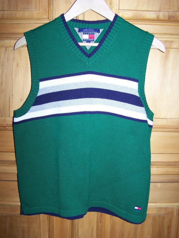 SALE - Tommy Hilfiger Striped Sweater Vest in Green and Navy