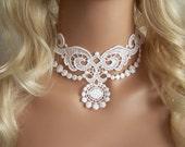 Lotus white lace choker necklace