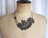 Petunia lace necklace charcoal grey