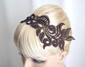 Delphinium lace headband brown