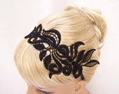 Delphinium black lace headband