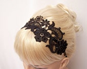 Phalenopsis lace headband black with crystals