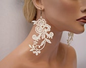 Wisteria lace earrings ivory short version