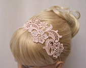 Phalenopsis lace headband blush pink  with crystals