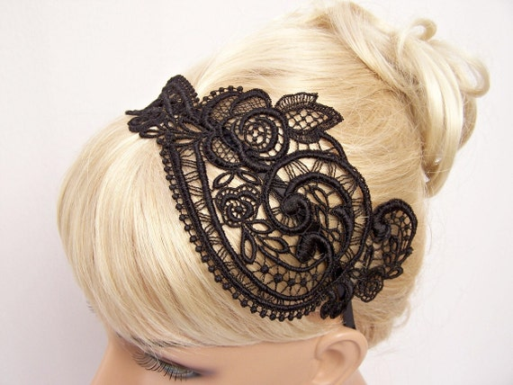 Anemone lace headband black