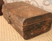 Reserved for Victoria FREE SHIPPING Vintage Metal Industrial Rusty Distressed Red Trunk/Suitcase/Box