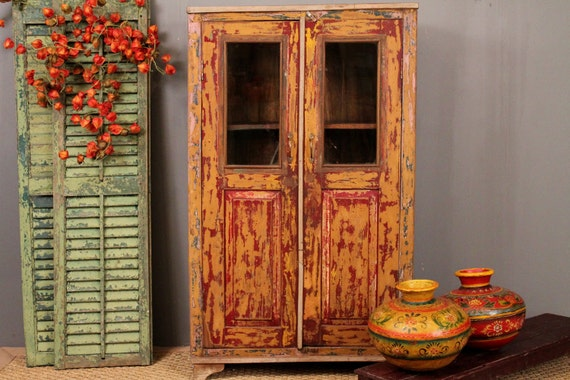 Vintage Red and Gold Distressed Cabinet