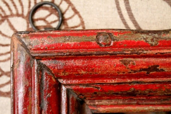 Antique Frame Distressed Red Mirror