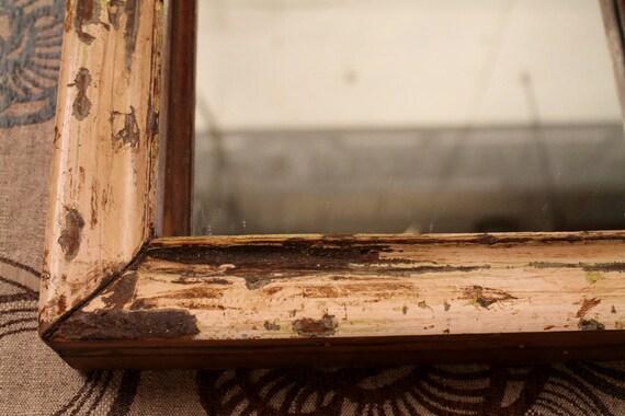 Antique Wood Frame Distressed Cream Mirror