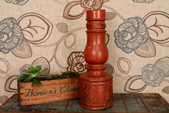 Rufous Red Bedpost Candlestick