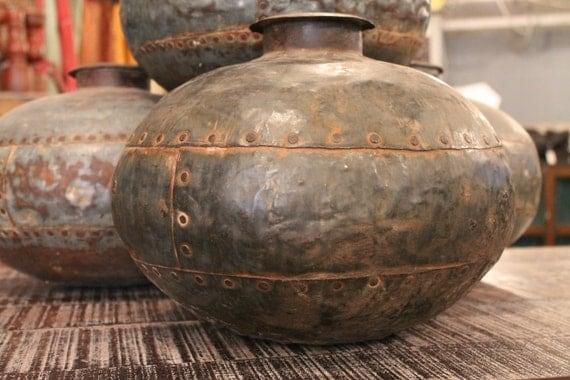Reserved for Jon Cyber Monday SALE Vintage Distressed Metal Pot/Vase/Urn