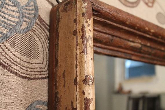 SALE Antique Shabby Chic Chippy Distressed Wood Frame Wall Mirror
