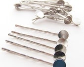 20 Silver Bobby Pins with 10mm glue pad for making Fabric Covered Button Bobbies