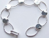 3 Silver Plated Hammered Oval Bracelet Form for Crafting and Embellishing 7.25 inches