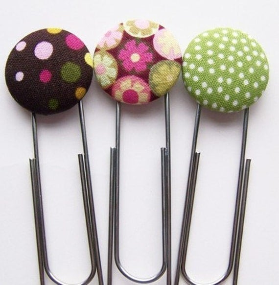 DIY Digital PDF Tutorial for Making Fabric Covered Button Hip Clip Bookmarks  EMAILED to you