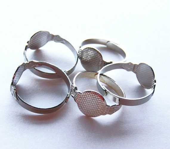 50 Adjustable Silver Ring Blanks with glue pad