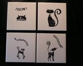 Cat ceramic tile coasters