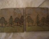 TREE DESIGN, slate coasters, set of 2