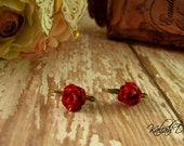 Red garden rose on antiqued brass french lever back earrings