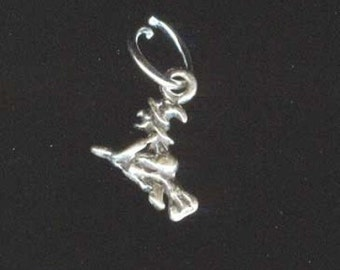 Sterling Silver Wee WITCH ON BROOM Jewelry Charm