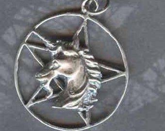 Sterling Silver UNICORN Pentacle Pentagram Pendant