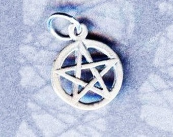 Sterling Silver Pentagram Child or Familiar Size Pentacle Pagan Jewelry Pent081
