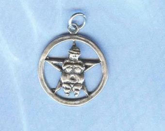 Sterling Silver Willendorf Earth Mother Pentacle Pendant Wiccan Jewelry P039