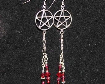 SALE Fire Witch Jewelry Pentagram Pentacle Long Earrings Sterling Silver and Gemstones FREE SHIPPING -P44-1-red