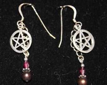 Pentagram Pentacle Earrings Sterling Silver and Gemstones P81Red