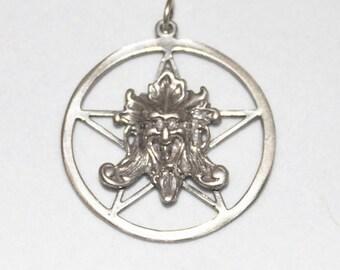 GREEN MAN Pentacle Pentagram Wiccan Pagan Jewelry Sterling Silver P013