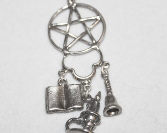 Witch Jewelry Bell Book & Candle Pendant in Sterling Silver