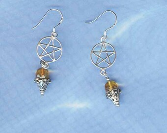 Pentacle Earrings Faceted Amber Sterling Silver Wiccan Jewelry P791-FAmb