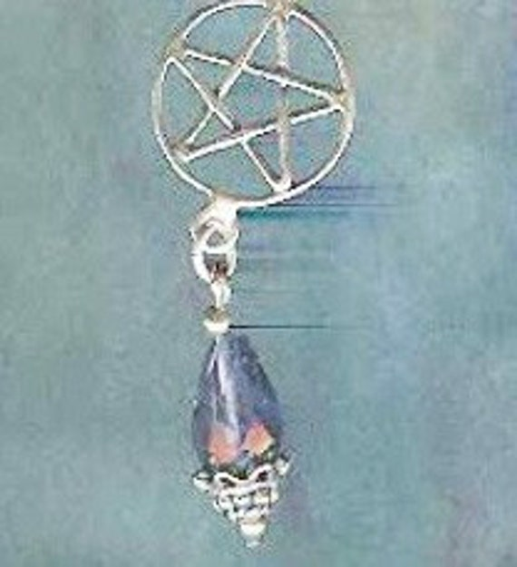 Sterling Silver Pentacle Ear Cuff w/ Iolite Wiccan Witch Jewelry