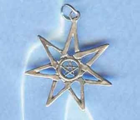 Faery Wicca 7 Star with Pentacle in Sterling Silver PENT084