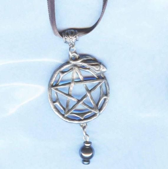 Snake Pentacle Necklace Black Hematite and Silver PN-SNK-HEM