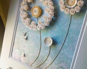 dandelion paper quilling artwork with matting frame and crystals