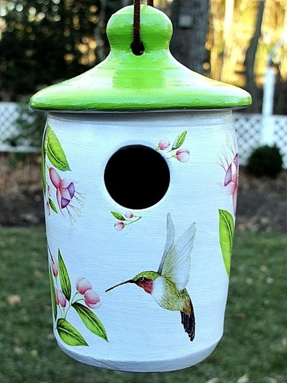 Bird House with Hummingbirds and Fuschia