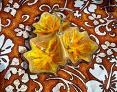 Vintage Orange Yellow Serving Tray with Handle