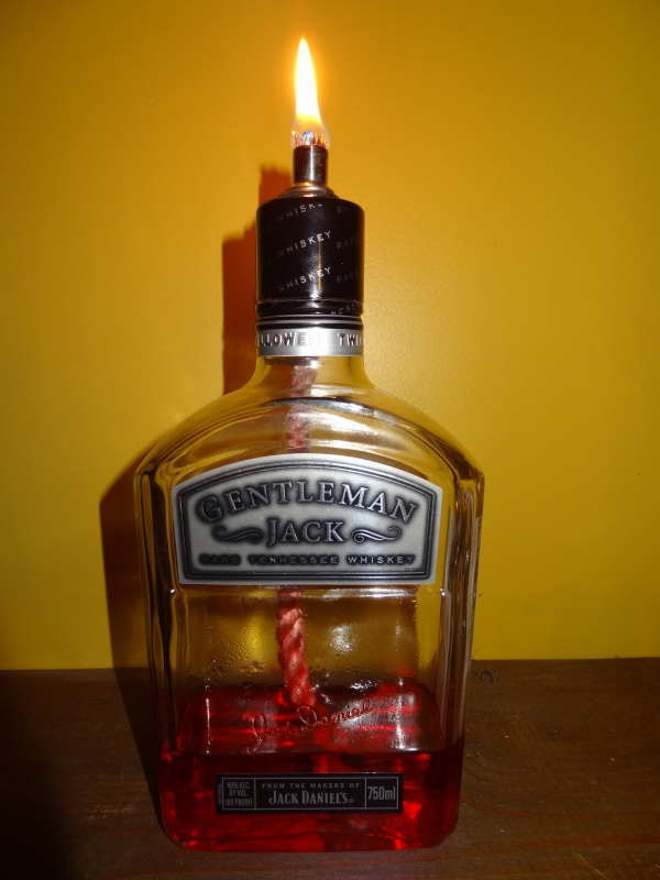Upcycled Gentlemans Jack Daniels Oil Lamp 750ml Bottle