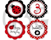 DIY Printable Ladybug cupcake toppers or tags