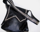 punk college bag, studs n black leather large and roomy, asymetrical flap