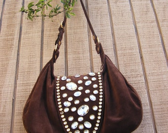 Brown suede and vintage stone boho hobo