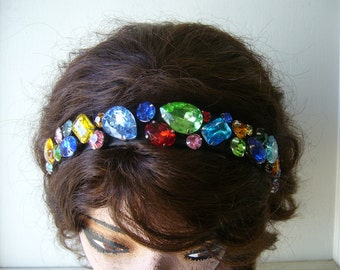 Multi color chunky Vintage rhinestone headband. READY TO SHIP