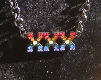 RAINBOW -XXX- black link necklace