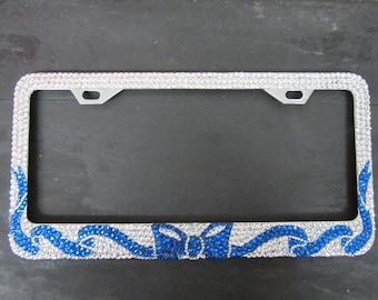 Blue Ribbon Swarovski Crystal 5Row License Plate Frame
