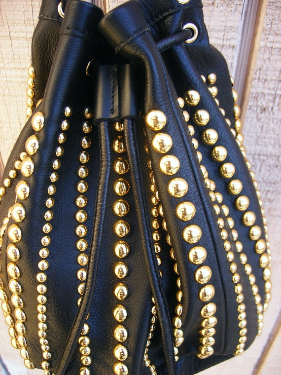 Bell bag, black and gold draw string purse