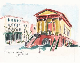 The Old City Market, Charleston, print from an original watercolor