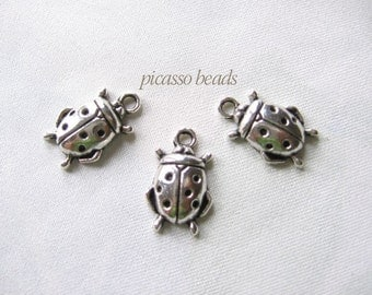6 pcs Antique Silver Lady Bug Charm Pendant - Very detailed great for necklace, pendants, bracelets, jewelry making and crafts