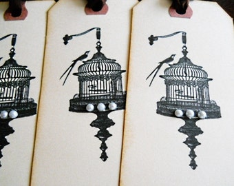 ALCHEMY-Set of 4 Vintage Inspired Birdcage Tags